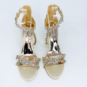 Badgley Mischka Feather Crystal Embellished Wedge